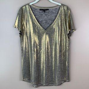 White House black market metallic gold top med